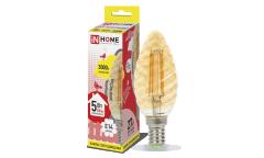Лампа светодиодная ASD LED-СВЕЧА ВИТАЯ-deco 5Вт 230В Е14 3000К 450Лм золотистая IN HOME