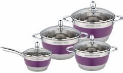 Набор посуды MercuryHaus MC-7016 нерж сталь/фиолетовый 8 предметов 4,9/2,9/2,1/1,5 л  24/20/18/16см