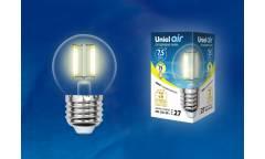 Светодиодная (LED) Лампа FIL (прозрачная) Uniel LED-G45-7,5W/WW/E27/CL Air шар прозр