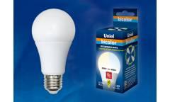 Лампа светодиодная Uniel LED-A60-9W/WW+NW/E27/FR PLB01WH двухцветная