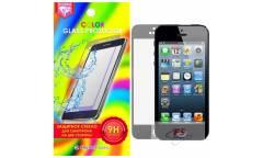 Защитное стекло цветное Krutoff Group для iPhone 5/5S на две стороны (silver)