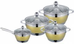 Набор посуды MercuryHaus MC-7069 нерж сталь/золото 8 предметов 4,9/2,9/2,1/1,5 л  24/20/18/16 см