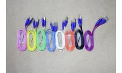 Кабель USB micro плоский с индик.зарядки фиолетовый