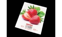 Весы кухонные электронные Centek CT-2462 стеклянные клубника LCD, 190х200 мм, max 5кг, шаг 1г