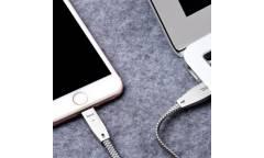 Кабель USB Hoco U11 lightning (1.2M) светоотражающий плетеный из цинкового сплава, Серебристый