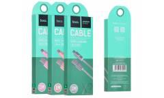 Кабель USB Hoco Micro X2 ткань мет.након.1 м розовый