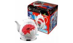 Чайник электрический Centek CT-0062 2.0л, 2000W, супербелая керамика, рельефный корпус (RED GERBER)