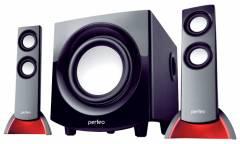 Компьютерная акустика Perfeo PF-1000 2.1 чёрные, красная подсветка (PF-1000-B)