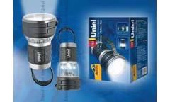 Фонарь Uniel S-TL010-B Black прорезин корпус 12 LED 3хD н/к, цвет - черный