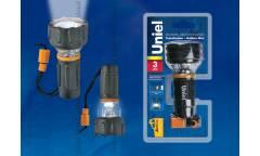 Фонарь Uniel S-TL012-C Black прорезин корпус 3 LED 3хААА н/к черный