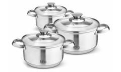 Набор посуды LARA LR02-77 ЧИКАГО, 6 пр. (кастр. 1.7л + 3.4л + 5.9л) стеклян. крышки