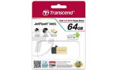USB флэш-накопитель 64GB Transcend JetFlash 380, USB 2.0, OTG, металл золото, MicroUSB + USB-A