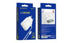CЗУ Borofone BA50A Beneficence dual port charger with cable + Lightning White