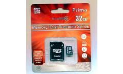 Карта памяти Prima MicroSDHC 32GB Class 10+adapter