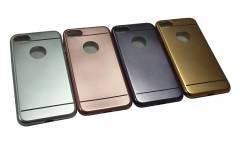 Силиконовая накладка Iphone 6 plus (с окошк.под ябл.) серебро