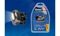 Фонарь Uniel S-HL011-C Gun Metal налобный алюм корпус, 1 LED 3хААА н/к