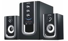 Компьютераня акустика Perfeo Rivera 2.1, FM-тюнер, USB/SD, ПДУ, 20Вт+5х2Вт, чёрно-серебристая