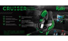 Игровая гарнитура RUSH CRUISER,LED-подсветка, динамики 50мм, гибкий микрофон,черн/синяя