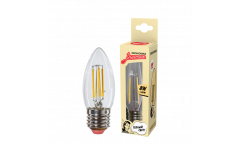 Светодиодная (LED) Лампа FIL (прозрачная) ЭКО_Экономка-C37-08W/2700/E27 _свеча