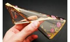 Силиконовый чехол Samsung SM-A320 Galaxy A3 (2017) Цветы с Золотистой зеркальной рамкой