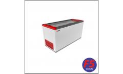 Ларь Frostor FG 500 C белый/красный, 450л,прямое стекло,5 корзины,колёса,замок 1410*600*850мм