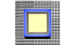 Накладной (LED) светильник Квадрат с син. подсветкой DLB Smartbuy-18w/3000K+B/IP20, 245*245, 3 режим