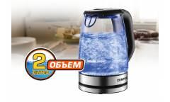 Чайник электрический Centek CT-0057 стекло, 2.0л, 2200Вт, БОЛЬШОЙ ОБЪЁМ, LED-подсветка, отделка нерж