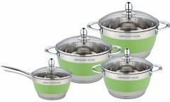 Набор посуды MercuryHaus MC-7015 нерж сталь/салатовый 8 предметов 4,9/2,9/2,1/1,5 л  24/20/18/16 см
