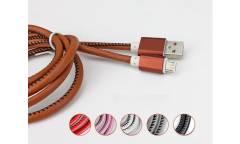 Кабель USB micro кожанная оплетка с метал наконечником красный