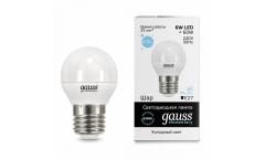 Лампа светодиодная GAUSS _G45_6W/6500K_E27 _шар