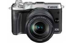 """Фотоаппарат Canon EOS M6 серебристый 24.2Mpix 3"""" 1080p WiFi 18-150 IS STM f/ 3.5-6.3 LP-E17"""
