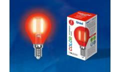 Лампа светодиодная UNIEL COLOR LED-G45-5W/RED/E14 GLA02RD красная