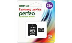 MicroSDHC флэш-накопитель 32GB Class 10 Perfeo Economy Series + adapter