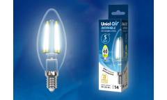 Светодиодная (LED) Лампа FIL (прозрачная) ДИМ Uniel LED-C35-5W/NW/E14/CL/DIM Air