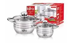 Набор посуды LARA LR02-101 Sonata, 4 пр., (кастр. 2.9л + 4.9л ) стеклян. крышки