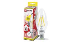 Лампа светодиодная ASD LED-СВЕЧА НА ВЕТРУ-deco 5Вт 230В Е14 3000К 450Лм прозрачная IN HOME
