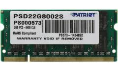 Память DDR2 2Gb 800MHz Patriot PSD22G8002S RTL PC2-6400 CL6 SO-DIMM 200-pin 1.8В