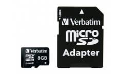 Карта памяти Verbatim MicroSDHC 8GB Class 10+adapter