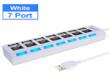 USB 2.0 хаб с выключателями, 7 портов, СуперЭконом, белый